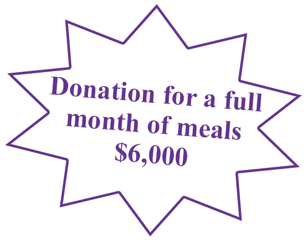 Donation for a full month of meals is $6000