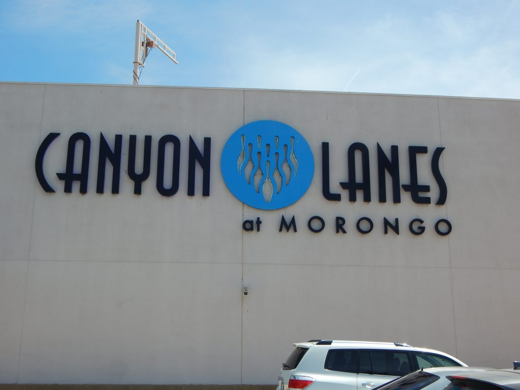 Canyon Lanes at Morongo sign