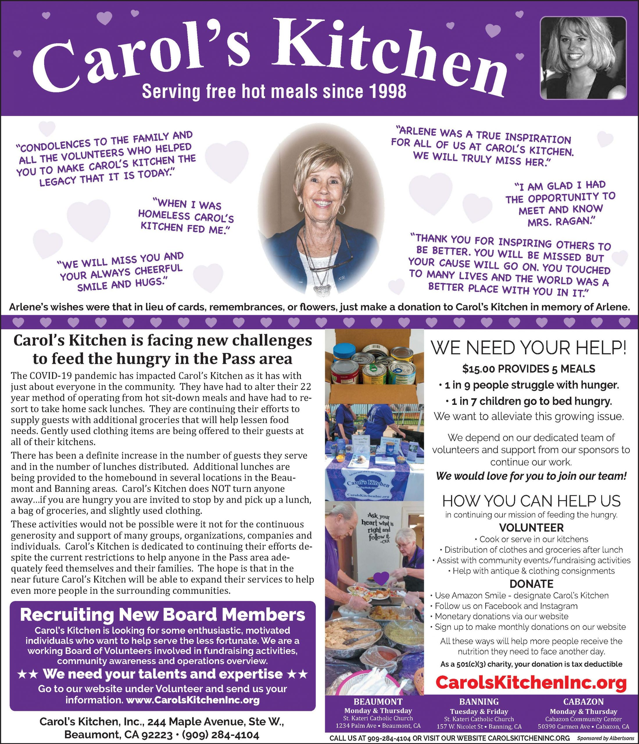 Carol's Kitchen Business Ad