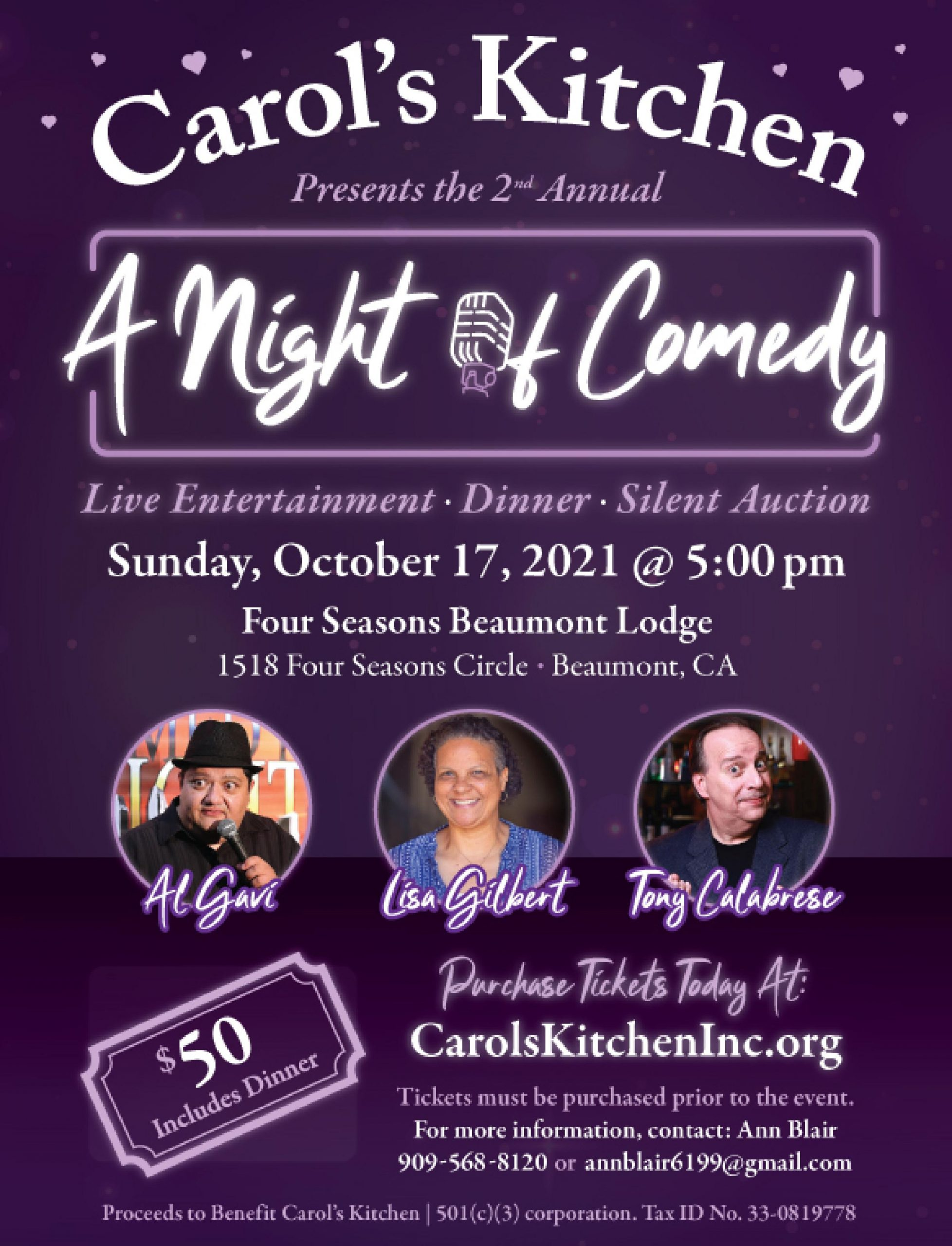 A Night of Comedy is October 17th at 5pm for $50
